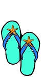 Teal Flip Flops with Starfish